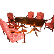 Ornate Set of 6 Carved Armchairs with Mahogany Twin Pedestal Dining Table
