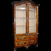 SALE Fine Italian Olive Wood Vitrine Display Cabinet c.1820