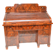 Superb Quality Mahogany Antique Roll Top Continental Desk Flamed Veneers.