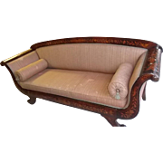 Superb Antique Mahogany Dutch Marquetry Settee, Chaise or Love Seat with Fabric
