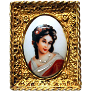 SALE Masterpiece Hattie Carnegie Brooch French Limoges Portrait Cameo