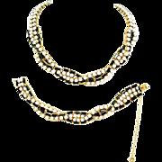 SALE Hattie Carnegie Parure Jewelry White & Black Glass Torsade Choker Necklace & Bracelet Set