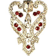 SALE Staret Brooch Art Deco Style Clear / Red Glass Paste Rhinestone Silver Tone Rare 1940's