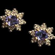 SALE African Tanzanite & White Diamond Earrings Pierced Stud 10K 10 Karat Yellow Gold