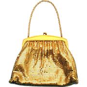 SALE Whiting & Davis Purse Gold Metal Mesh Medium Small Evening Bag s/ Strap