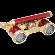 SOLD 1900s French 'Carpentier' Petit Opera Glasses / Antique Red Enamel Binoculars Theater Gla