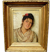 SALE Portrait of a Spanish Beauty by Felix Stone Moscheles (1833 - 1917)