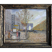 SALE 20th Century French School Impressionist Oil Painting Les Champs Elysees Paris
