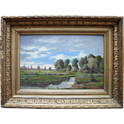 SALE J MANHEIMER. C1870 French School Landscape Oil Painting.