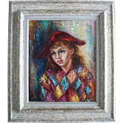 "SALE Anna de BANGUY ""Harlequin"" French School c1953 Oil Painting"