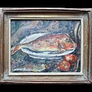"SOLD MOTIA MORHANGE (c.1880-1960) ""Gurnard"" French Israeli Impressionist Still Life Oil Pa"