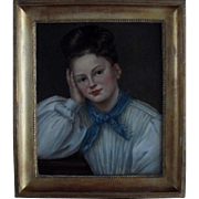 SALE French School Signed, Dated 1831 Portrait of a Young Woman Oil Painting