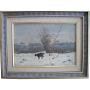 French school 19th-century Impressionist Period Indistinctly Signed Oil Painting