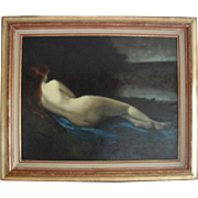 Follower of Jean Jacques HENNER (1829-1905) French School Nude Large Oil Painting