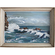 B Cassard. Impressionist Coastal landscape, Brittany circa 1950. Oil Painting