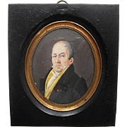 Signed French Portrait Miniature c1830 of a gentleman.