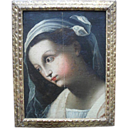 Early Italian school circa 1650. Baroque Madonna Oil Painting