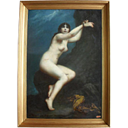 Henri Cahuzac, French School, Andromeda 1880. Large Oil painting.