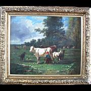 Andrés CORTES Y AGUILAR (1812-1879) French Barbizon School Landscape.Oil Painting