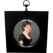 Exquisite French School Portrait Miniature Melanie Ferrand c1807