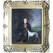 SALE Portrait of a Gentleman with his Faithful Hound. English School 19th Century Victorian. .