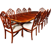 Regency Dining Table and Hepplewhite Chair Set Suite Mahogany Furniture