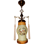 Brass Ceiling Fixture with Spanish Revival Birds of Paradise on the Globe