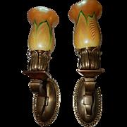 Cast Brass Art Nouveau Sconces with Steuben Pulled Feather Art Glass Shades