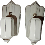 Pair Vintage White Porcelain with Black Pin-stripping  Bathroom Wall Sconces
