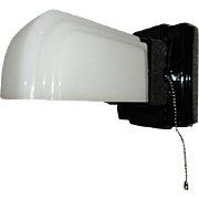 Vintage Bathroom Black Streamlined Porcelain Wall Light Fixture w Matching Shade
