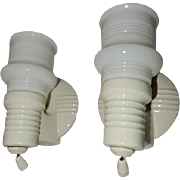 Pair Vintage Deco Bathroom Porcelain  Lighting Wall Fixtures