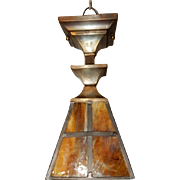 Arts & Crafts Brass Pendant Light Fixture w Slag Glass Shade
