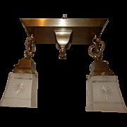 Arts & Crafts Brass Pendant Light Fixture w Cut Glass Shades