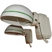 Vintage pair white Streamlined porcelain wall sconces with Period Green Pin-striped shades. ..