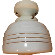 1930s Ceiling Porcelain Fixture with a Streamlined Look