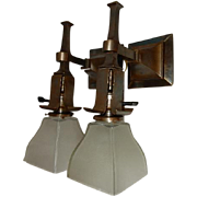 Simple Mission Style Arts and Crafts Sconces With Etched Shades