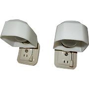Vintage pair white Streamlined porcelain wall sconces with matching shades. Price for pair
