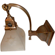 c.1904 Arts & Crafts Mission Sconce w Bronze Finish