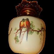 Green Top Parrot Shade Original Ceiling Vintage Lighting Fixture.