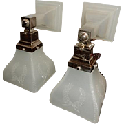 Nickel Plated Mission Style Arts and Crafts Sconces With Camphor Shades & Backplates---signed