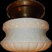 Embossed Milk Glass Ceiling Light in Original Brass Fixture