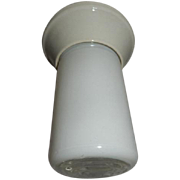 Petite Deco Vintage Enameled Glass Industrial Shade on Porcelain Fitter