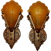 Ca. 1920s Restored to Original Color Scheme Vintage Wall Sconces by Riddle