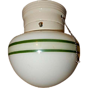 1930s Porcelain Glass Fixture with Green Stripes