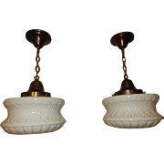 Pr. Original Brass Fixture Pendants with Large Embossed Milk Glass Shades