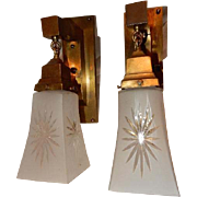 Extraordinary Mission Style Arts and Crafts Sconces With Frosted Cut Shades