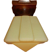 Deco Custard Glass Shade with Brass Ceiling Fixture