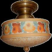 Original Tan Lace on White Colored Bellova Glass Shade on Vintage Semi-Flush Brass Fitter