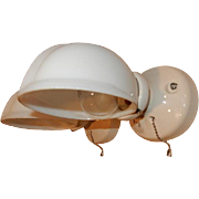 Vintage pair white Streamlined porcelain wall sconces with matching Deco shades. Price for pai