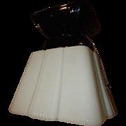 Art Deco Milk Glass Shade with Black Porcelain Ceiling Fixture